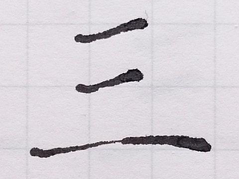 細めに書いた三