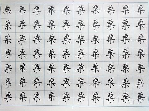 粟の字の練習写真