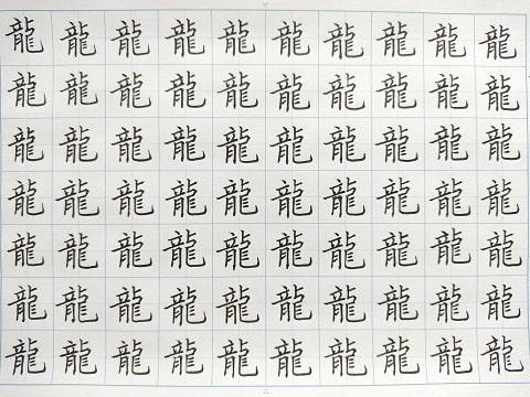 龍の字の練習写真